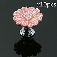 FBSHOP(TM) Rosa Möbelknauf, Möbelknöpfe, Möbelgriff, Vintage Keramik Porzellan Schöne Chrysantheme Form(Satz von 10)