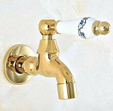 fcndsfk Wasserhahn Goldener Keramikgriff
