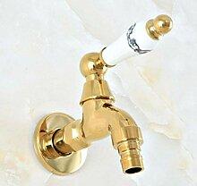 fcndsfk Wasserhahn poliert Gold Messing Outdoor