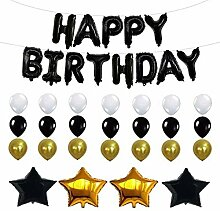 FCY Happy Birthday Luftballons Set Gold Schwarz