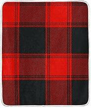 FCZ gemütliche Decke, rot-schwarz, Büffelkaro,