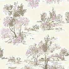 fd22054–Maison Chic Bäume lila Fine Decor Tapete