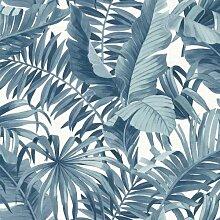 FD24133 Tapete Solstice Tropical Leaf Blue