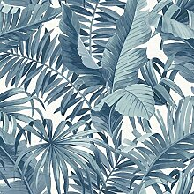 FD24133 Tapete Solstice Tropical Leaf Blue