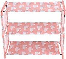Fdit 3 Tier Stapelbare Schuh Regale Tragbare Rack Schrank Organizer Schuhständer(Rosa)
