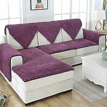 FDJKGFHGFCGDFGDG Schnee neil schonbezug sofa,Europäischer stil Plüschsofa slipcover Winterschlupf Leder-sofa-matte Fabric bay window seat dämpfung-Lila 60x150cm(24x59inch)