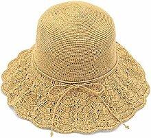 FDYHHRF Frau 2018 Sommer Neuer Stil Strohhut Strandmütze UV-Schutz Visier Grand Edge Sonnenschutz Sonnenhut,Khaki