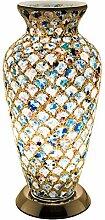 FEBLAND Medium Mosaik Glas Vase Lampe, 25W, blau