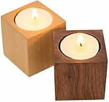 FECTY Massivholz Kerzenständer Tisch