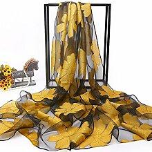 Feder und langer Schal schal Schal weiblichen Multifunktionale dünnen Schal 180 cm * 70 cm Sonnenschutz Sommer, blühen - Gelb