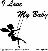 Fee auf Schaukeln, mit Aufschrift I Love my Baby), 60 x 60 cm, Farbe Fairy schwarz, sprite, peri, fay, Kinder Zimmer, Schlafzimmer Wandtattoo/Aufkleber, Vinyl Aufkleber, Wand, Fenster und Wand Windows-Art ThatVinylPlace Wandtattoo,
