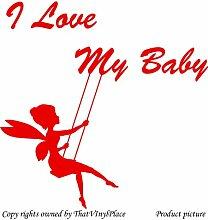 Fee auf Schaukeln, mit Aufschrift I Love my Baby), 60 x 60 cm, Rot Fairy, sprite, peri, fay, Kinder Zimmer, Schlafzimmer Wandtattoo/Aufkleber, Vinyl, Fenster und Wand Aufkleber, Wand Windows-Art ThatVinylPlace Wandtattoo,