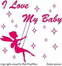 Fee auf Schaukeln und Sterne mit Aufschrift I Love my Baby), 60 x 60 cm Colour Blush Fairy, sprite, peri, fay, Kinder, Schlafzimmer, Kinderzimmer, Aufkleber, Vinyl Aufkleber, Wand, Fenster und Wand Windows-Art ThatVinylPlace Wandtattoo,