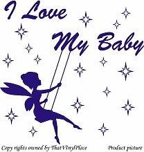 Fee auf Schaukeln und Sterne mit Aufschrift I Love my Baby), 60 x 60 cm Farbe Fairy: Saphir Blau, sprite, peri, fay, Kinder Zimmer, Schlafzimmer Wandtattoo Auto-Kunststoff-Fenster-Wand-Sticker/Wand Windows-Art ThatVinylPlace Wandtattoo,
