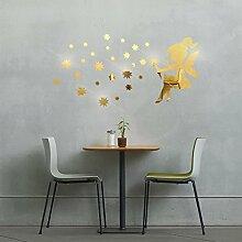 Fee Bläst Stern Spiegel Dreidimensionaler Wandaufkleber Kinderzimmer Dekorativer,Gold-74*40cm