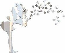 Fee Sterne Spiegel Wandaufkleber Kleines Mädchen