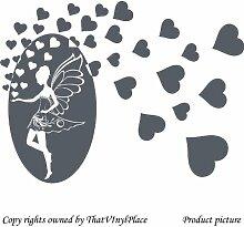 Fee und Herzen, 60 x 40 cm, Farbe dunkelgrau, Fairy, Engel, sprite, peri, fay, Kinder Zimmer, Schlafzimmer Wandtattoo/Aufkleber, Vinyl, Fenster und Wand Aufkleber Wand Windows-Art, ThatVinylPlace Wandtattoo,