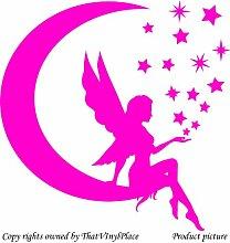 Fee und Mond und Sterne, 60 x 60 cm Pink Fairy, sprite, peri, fay Kinder, Zimmer, Schlafzimmer Wandtattoo/Aufkleber, Vinyl, Fenster und Wand Sticker Wand Windows-ThatVinylPlace Wandtattoo, Ar