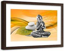 Feeby Bild Brauner Rahmen XXL Buddha Wanddeko Zen