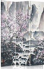 Feeby Frames. Die gedruckten auf Canvas Leinwand Wandschirme, dekorative Trennwand, Paravent beidseitig, 3 teilig (110x180 cm), KIRSCHBLÜTE ROSA