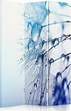 Feeby Frames. Die gedruckten auf Canvas Leinwand Wandschirme, dekorative Trennwand, Paravent einseitig, 3 teilig (110x150 cm), WASSERTROPFEN, WEIß, BLAU