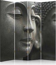 Feeby Frames. Die gedruckten auf Canvas Leinwand Wandschirme, dekorative Trennwand, Paravent einseitig, 4 teilig (145x180 cm), BUDDHA, GRAU, SCHWARZ