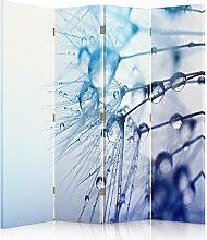 Feeby Frames. Die gedruckten auf Canvas Leinwand Wandschirme, dekorative Trennwand, Paravent beidseitig, 4 teilig (145x180 cm), WASSERTROPFEN, WEIß, BLAU