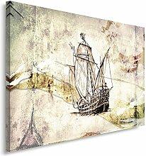 Feeby Frames, Leinwandbild, Bilder, Wand Bild, Wandbilder, Kunstdruck 60x80cm, ABSTRAKTION, MARINE, SEGELBOOT, ALTE POSTKARTE, SEPIA