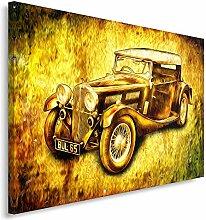 Feeby Frames, Leinwandbild, Bilder, Wand Bild, Wandbilder, Kunstdruck 60x80cm, ALTER WAGEN - FORD, VINTAGE, GELB, ORANGE