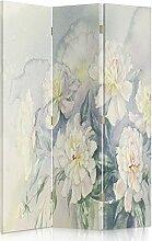 Feeby Frames. Raumteiler, Gedruckten auf Canvas, Leinwand Wandschirme, dekorative Trennwand, Paravent einseitig, 3 teilig (110x150 cm), BLUMEN, NATUR, VASE, FARBE, WEIß