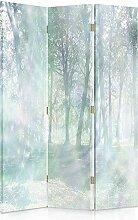 Feeby Frames. Raumteiler, Gedruckten aufCanvas, Leinwand Wandschirme, dekorative Trennwand, Paravent beidseitig, 3 teilig, 360° (110x150 cm), BÄUME, WALD, WEG, NATUR, BLAU