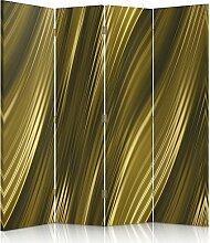 Feeby Frames. Raumteiler, Gedruckten auf Canvas, Leinwand Wandschirme, dekorative Trennwand, Paravent beidseitig, 4 teilig (145x150 cm), ABSTRAKT, KUNST, GOLD