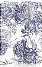 Feeby Frames. Raumteiler, Gedruckten auf Canvas, Leinwand Wandschirme, dekorative Trennwand, Paravent einseitig, 3 teilig (110x150 cm), BLAU PFINGSTROSE