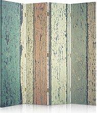 Feeby Frames. Raumteiler, Gedruckten auf Canvas, Leinwand Wandschirme, dekorative Trennwand, Paravent beidseitig, 4 teilig (145x180 cm), BRETTER, HOLZ, RUSTIKAL, MULTICOLOR