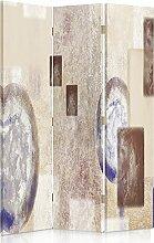 Feeby Frames. Raumteiler, Gedruckten aufCanvas, Leinwand Wandschirme, dekorative Trennwand, Paravent einseitig, 3 teilig (110x180 cm), MODERN, ABSTRAKTION, MAKRO, GEOMETRIE, BEIGE, WEIß, NAVY BLAU