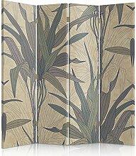Feeby Frames. Raumteiler, Gedruckten auf Canvas, Leinwand Wandschirme, dekorative Trennwand, Paravent einseitig, 4 teilig (145x180 cm), VEGETATION, BEIGE, BRAUN, GRÜN