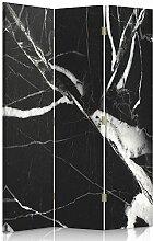 Feeby Frames. Raumteiler, Gedruckten auf Canvas, Leinwand Wandschirme, dekorative Trennwand, Paravent einseitig, 3 teilig (110x180 cm), MARMOR, SCHWARZ UND WEIß