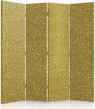 Feeby Frames. Raumteiler, Gedruckten auf Canvas, Leinwand Wandschirme, dekorative Trennwand, Paravent beidseitig, 4 teilig (145x150 cm), MATERIAL, GOLD, WAND, TAPETE