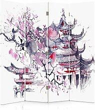 Feeby Frames. Raumteiler, Gedruckten auf Canvas, Leinwand Wandschirme, dekorative Trennwand, Paravent beidseitig, 4 teilig (145x150 cm), JAPANISCHER KIRSCHBAUM, ABSTRAKT, LILA