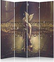 Feeby Frames. Raumteiler, Ggedruckten aufCanvas, Leinwand Wandschirme, dekorative Trennwand, Paravent einseitig, 4 teilig (145x150 cm), GOLDENEN BUDDHA, BRAUN