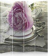 Feeby Frames. Raumteiler, Ggedruckten aufCanvas, Leinwand Wandschirme, dekorative Trennwand, Paravent beidseitig, 4 teilig (145x180 cm), SCHMUCK ROSA PÄONIE