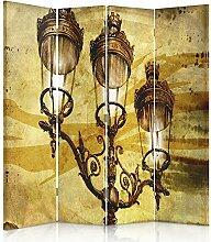 Feeby Frames. Raumteiler, Ggedruckten aufCanvas, Leinwand Wandschirme, dekorative Trennwand, Paravent einseitig, 4 teilig (145x180 cm), VINTAGE, LAMPE, ZEICHNUNG, GELB, SCHWARZ