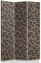 Feeby Frames. Textilwandschirme, dekorative Trennwand, Paravent beidseitig, 3 teilig (110x180 cm), BEIGE, SCHWARZ, BLUMEN, GLAMOUR, MODERN, FÜR SCHLAFZIMMER, KEILKISSEN, BETTEN