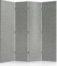 Feeby Frames. Textilwandschirme, dekorative Trennwand, Paravent beidseitig, 4 teilig (145x150 cm), STOFF, GLAMOURÖSE, MODERN, GRAU, VELOURSLEDERIMITAT