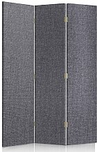 Feeby Frames. Textilwandschirme, dekorative Trennwand, Paravent beidseitig, 3 teilig (110x150 cm), GRAU, STOFF, GLAMOURÖSE, MODERN