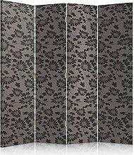 Feeby Frames. Textilwandschirme, dekorative Trennwand, Paravent einseitig, 4 teilig (145x180 cm), GLAMOUR, MUSTER, BLUMEN, SCHWARZ, GRAFIT, FÜR SCHLAFZIMMER