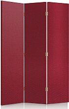 Feeby Frames. Textilwandschirme, dekorative Trennwand, Paravent beidseitig, 3 teilig (110x180 cm), ROT, STOFF, GLAMOURÖSE, MODERN