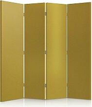 Feeby Frames. Textilwandschirme, dekorative Trennwand, Paravent beidseitig, 4 teilig (145x150 cm), KUNSTLEDER, MODERN, SENF