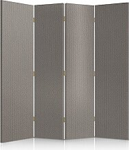Feeby Frames. Textilwandschirme, dekorative Trennwand, Paravent einseitig, 4 teilig (145x150 cm), STOFF, GRAU, GLAMOURÖSE