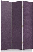 Feeby Frames. Textilwandschirme, dekorative Trennwand, Paravent einseitig, 3 teilig (110x150 cm), LILA, STOFF, GLAMOURÖSE, MODERN